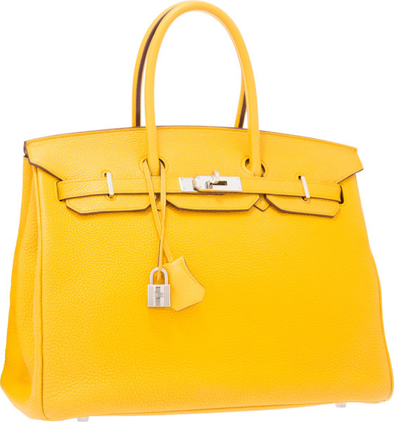 37862e9c32a Hermes 35cm Soleil Clemence Leather Birkin Bag with