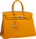 "Luxury Accessories:Bags, Hermes 35cm Jaune d'Or Epsom Leather Birkin Bag with Palladium Hardware. Very Good to Excellent Condition. 14"" Width x..."
