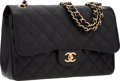 "Luxury Accessories:Bags, Chanel Black Quilted Caviar Leather Jumbo Double Flap Bag with GoldHardware. Excellent Condition . 12"" Width x 8"" Hei..."