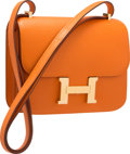 "Luxury Accessories:Bags, Hermes 18cm Orange H Epsom Leather Double Gusset Constance Bag withGold Hardware. Pristine Condition. 7"" Width x 6"" H..."