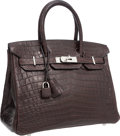 "Luxury Accessories:Bags, Hermes 30cm Matte Havane Nilo Crocodile Birkin Bag with Palladium Hardware. Excellent Condition. 12"" Width x 8"" Height..."