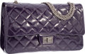 Luxury Accessories:Bags, Chanel Purple Quilted Distressed Patent Leather Jumbo ReissueDouble Flap Bag with Gunmetal Hardware. ExcellentCondition...