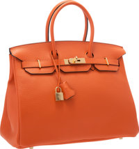 Hermes 35cm Feu Clemence Leather Birkin Bag with Gold Hardware Excellent to Pristine Condition 14
