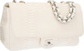"""Luxury Accessories:Bags, Chanel White Python Jumbo Single Flap Bag with Silver Hardware. 12"""" Width x 8"""" Height x 4"""" Depth. Good to Very Good Co..."""