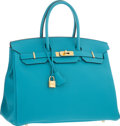 """Luxury Accessories:Bags, Hermes 35cm Turquoise Togo Leather Birkin Bag with Gold Hardware. Excellent Condition. 14"""" Width x 10"""" Height x 7"""" Dep..."""