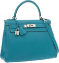 "Luxury Accessories:Bags, Hermes 28cm Turquoise Chevre Leather Retourne Kelly Bag withPalladium Hardware. Very Good Condition. 11"" Width x 8""H..."