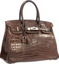 "Luxury Accessories:Bags, Hermes 30cm Shiny Havane Nilo Crocodile Birkin Bag with PalladiumHardware . Very Good Condition . 12"" Width x 8""Heig..."