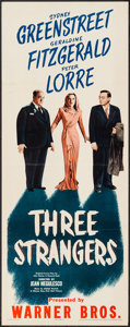 "Movie Posters:Crime, Three Strangers (Warner Brothers, 1946). Insert (14"" X 36"").Crime.. ..."
