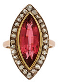 Estate Jewelry:Rings, Tourmaline, Diamond, Silver-Topped Gold Ring. ...