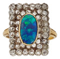Estate Jewelry:Rings, Opal, Diamond, Silver-Topped Gold Ring. ...