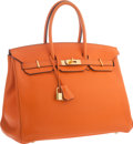 """Luxury Accessories:Bags, Hermes 35cm Orange H Clemence Leather Birkin Bag with GoldHardware. Very Good to Excellent Condition. 14"""" Width x10""""..."""
