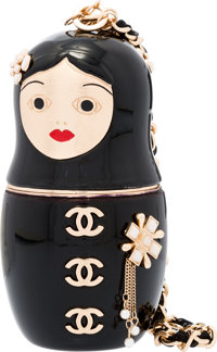 """Chanel Black Enamel Matryoshka Doll Evening Bag with Gold Hardware Good Condition 2.5"""" Width x 5"""" Height x 2..."""