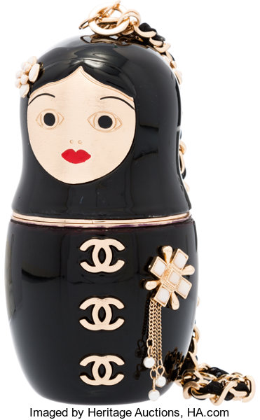 f331273f3510 Luxury Accessories:Bags, Chanel Black Enamel Matryoshka Doll Evening Bag  with Gold Hardware.