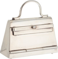 "Hermes Sterling Silver Kelly Bag Pillbox Very Good Condition 1.75"" Width x 2"" Height x .75"" Depth"