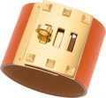 """Luxury Accessories:Bags, Hermes Feu Epsom Leather Kelly Dog Extreme Bracelet with Gold Hardware. Pristine Condition. 2"""" Width. ..."""