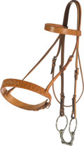 Luxury Accessories:Home, Hermes Natural Sable Ostrich & Vache Naturelle Leather SnaffleBridle with Dublin Inox Eggbutt Bit. Very Good Condition...