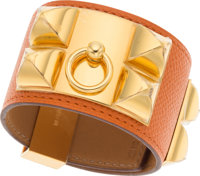Hermes Potiron Epsom Leather Collier de Chien Bracelet with Gold Hardware Pristine Condition 1.5""