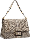 "Luxury Accessories:Bags, Fendi Natural Snakeskin Mama Baguette Bag . ExcellentCondition. 14"" Width x 9"" Height x 5"" Depth. ..."