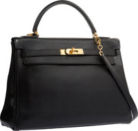 Hermes 32cm Black Ardennes Leather Retourne Kelly Bag with Gold Hardware Good to Very Good Condition