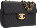 "Luxury Accessories:Bags, Chanel Black Quilted Caviar Leather Jumbo Single Flap Bag with GoldHardware. Very Good Condition. 12"" Width x 8"" Height x..."