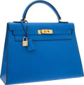 "Luxury Accessories:Bags, Hermes 32cm Blue France Courchevel Leather Sellier Kelly Bag withGold Hardware. Very Good Condition. 12.5"" Width x9""..."