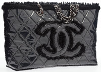 Chanel Black Quilted Vinyl & Tweed Tote Bag with Silver Hardware Very Good to Excellent Condition