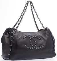 """Chanel Black Lambskin Leather Tote Bag with Silver Hardware Excellent Condition 13"""" Width x 10"""" H"""