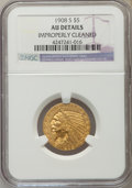 Indian Half Eagles: , 1908-S $5 -- Improperly Cleaned -- NGC Details. AU. NGC Census: (18/479). PCGS Population (27/411). Mintage: 82,000. Numism...