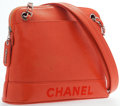 "Luxury Accessories:Accessories, Chanel Orange Caviar Leather Shoulder Bag with Silver Hardware.Good to Very Good Condition. 12"" Width x 9"" Height x4..."