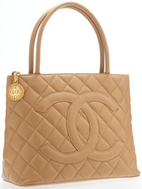 """Chanel Beige Caviar Leather Medallion Tote Bag with Gold Hardware Excellent Condition 12"""" Width x 10"""" Height..."""
