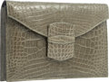 "Luxury Accessories:Bags, Oscar de la Renta Shiny Green Crocodile Clutch Bag. Very GoodCondition. 9.5"" Width x 6.5"" Height x 2"" Depth. ..."