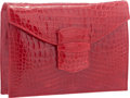 "Luxury Accessories:Bags, Oscar de la Renta Shiny Red Crocodile Clutch Bag. Very GoodCondition. 9.5"" Width x 6.5"" Height x 2"" Depth. ..."