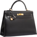 """Luxury Accessories:Bags, Hermes 32cm Black Calf Box Leather Sellier Kelly Bag with Gold Hardware. Very Good Condition. 12.5"""" Width x 9"""" Height ..."""