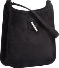 "Hermes Black Veau Doblis Suede Vespa TPM Bag with Palladium Hardware Excellent Condition 7"" Width"