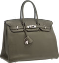 "Luxury Accessories:Bags, Hermes 35cm Vert Olive Clemence Leather Birkin Bag with PalladiumHardware. Very Good to Excellent Condition. 14""Widt..."