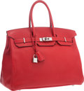 """Luxury Accessories:Bags, Hermes 35cm Rouge Vif Clemence Leather Birkin Bag with PalladiumHardware. Good to Very Good Condition. 14"""" Width x10..."""