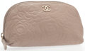 "Luxury Accessories:Accessories, Chanel Beige Leather Cosmetic Pouch With Matte Gold Hardware.Very Good Condition. 7.5"" Width x 4"" Height x 2.5""Depth..."