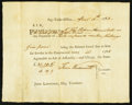 Colonial Notes:Connecticut, Connecticut Pay Table Office Certificate £31.19s.6d April 15, 1783Extremely Fine.. ...