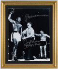 "Boxing Collectibles:Autographs, Jake LaMotta ""Ray I Never Went Down"" Signed OversizedPhotograph...."