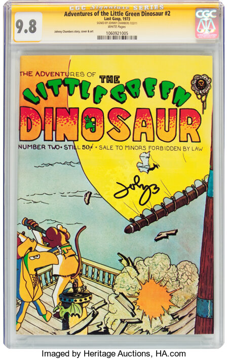 The Adventures of the Little Green Dinosaur #2 (Last Gasp, 1973) CGC Signature Series NM/MT 9.8 White pages....