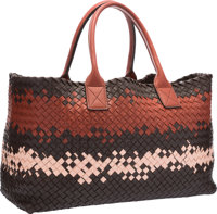 Bottega Veneta Limited Edition Red & Brown Woven Leather Cabat Tote Bag, 131/300 Very Good to Excellent Conditi
