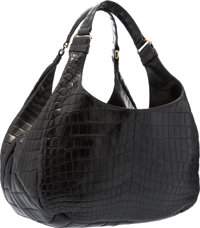 "Bottega Veneta Matte Black Crocodile Campana Shoulder Bag Very Good to Excellent Condition 15"" Wi"
