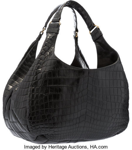 "Bottega Veneta Matte Black Crocodile Campana Shoulder BagVery Good to Excellent Condition15"" Width x 9"" Height x 6..."