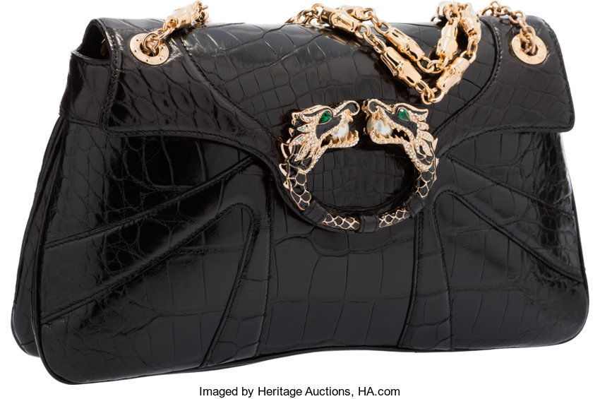 322bd777fb1bec ExcellentCondition; Luxury Accessories:Bags, Gucci Black Crocodile Dragon  Shoulder Bag by Tom Ford.