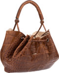 "Luxury Accessories:Bags, Giorgio Armani Brown Crocodile Drawstring Bag. GoodCondition. 13"" Width x 10"" Height x 7"" Depth. ..."