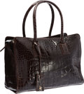 "Luxury Accessories:Bags, Giorgio Armani Brown Crocodile Tote Bag. Very GoodCondition. 12"" Width x 8.75"" Height x 5"" Depth. ..."