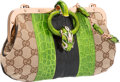 "Luxury Accessories:Bags, Gucci Green & Black Crocodile and Canvas Dragon Evening Bag byTom Ford. Excellent Condition. 9"" Width x 4"" Height x1..."
