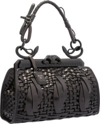 Christian Dior Limited Edition Black Woven Leather Samourai 1947 Bag with Bakelite Hardware Excellent Condition