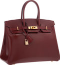 "Luxury Accessories:Bags, Hermes 35cm Rouge H Calf Box Leather Birkin Bag with Gold Hardware. Very Good Condition. 14"" Width x 10"" Height x 7"" D..."