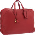 """Luxury Accessories:Bags, Hermes 45cm Rouge Garance Clemence Leather Victoria Travel Bag withGold Hardware. Very Good Condition. 17"""" Width x 10..."""